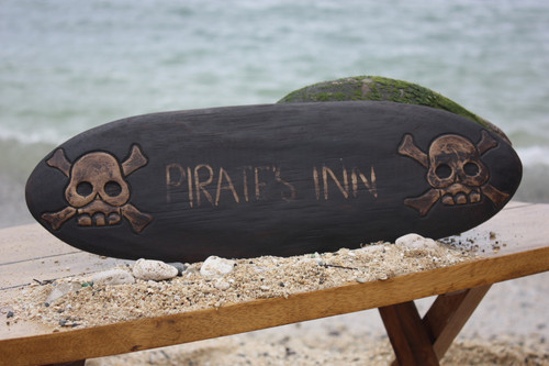 """PIRATES INN"" SKULL AND BONES SIGN - SURF CROSS BONES DECOR 2"