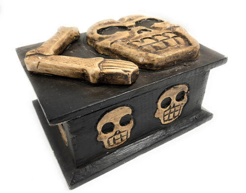 "Crossbones Keepsake Treasure Box Chest 7"" - Skull Decor 