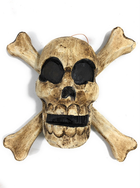 "Skull and Crossbones Hanging Sign 8"" - Crossbones Decor 
