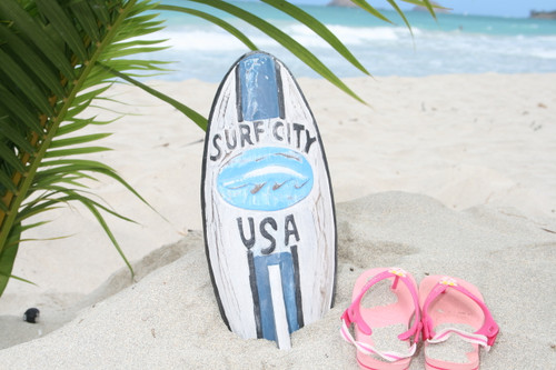 """SURF CITY, USA"" SURF SIGN W/ FIN 14"" - SURFING DECOR 2"