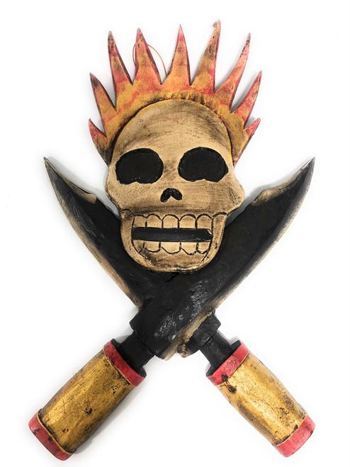 "Skull w/ Cross Knives & Flame 10"" - Crossbones Decor | #kng21061"
