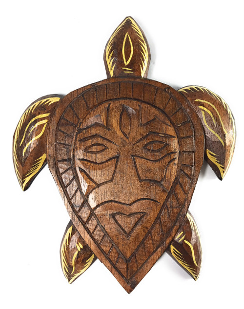"Primitive Tribal Turtle Tiki Mask 9"" Wall Plaque 