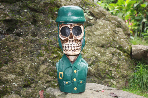"""SKULL SOLDIER"" STATUE 16"" POP ART - CROSS BONES DECOR"