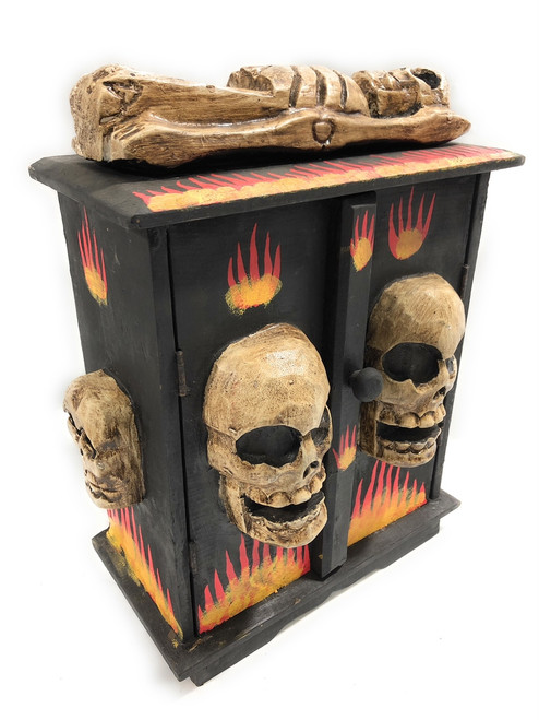 "Armoire w/ Skulls & Flames 12"" X 6"" - Crossbones Decor 