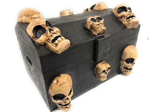 "Large Treasure Chest w/ Skulls 18"" X 12"" - Crossbones Decor 