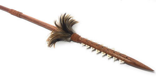 "Hawaiian Koa Spear 60"" w/ 16 Shark Teeth & Brown Feathers 