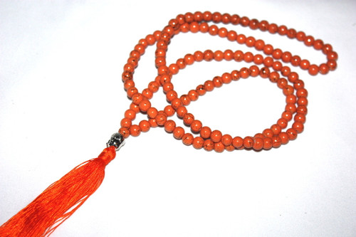 Orange Bead Resine Buddha Silver Tone Tassel Necklace Jewelry | #cik3605o