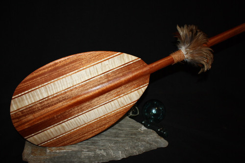 "Decorative Canoe Paddle 60"" w/ Rooster Feathers 