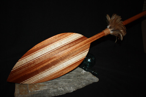 "Tear Drop Canoe Paddle 60"" w/ Rooster Feathers 