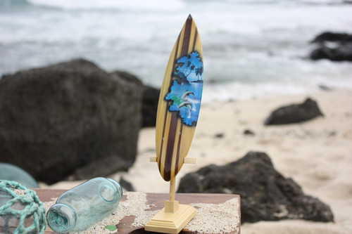 """Surfboard w/ Stand Dolphins Design 6"""" - Trophy"""