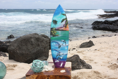 "Surfboard w/ Island Sunrise 20"" - Surf Decor Hawaii - Trophy"