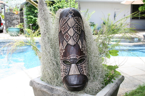 "FIJIAN TIKI MASK W/ CARVED TURTLE - 20"" HAPPINESS - PCC"