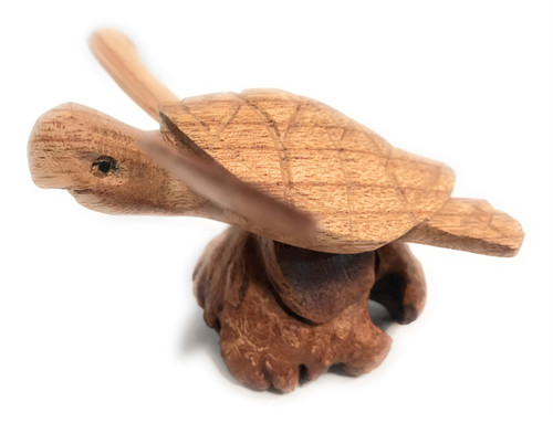 "Swimming Sea Turtle w/ Driftwood Base 5""H X 5""W - Carved 