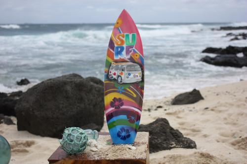 "Surfboard w/ VW Van 70's Style 20"" - Surf Decor Hawaii - Trophy"
