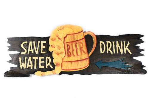"""Save Water, Drink Beer"" Tiki Bar Sign - Beer Sign 