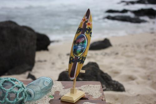 """Surfboard w/ Stand Palms & Plumeria Design 6"""" - Trophy"""