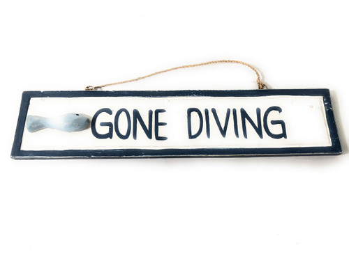"Gone Diving 12"" Wooden Sign - Rustic Nautical Blue 