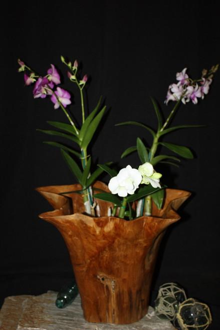 "Rustic Vase Flower Wooden Teak Bowl 17"" x 14"" x 13"" | #hwa226"