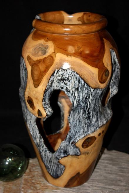 "Teak Root Urn 17.5"" w/ Burn Finish - Centerpiece Sculpture | #lpu28m"