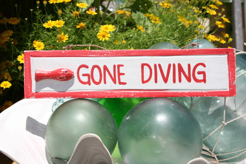"""""""GONE DIVING"""" NAUTICAL SIGN 12"""" RED - BEACH DECOR"""