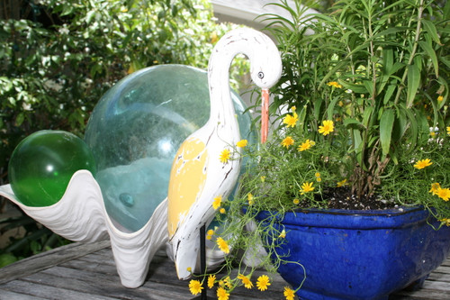 """EGRET BIRD"" - RUSTIC YELLOW COASTAL 14"" - GARDEN/HOME DECOR 2"