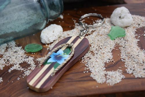 Keychain Wooden Slipper w/ Blue Hibiscus - Hawaiian Style