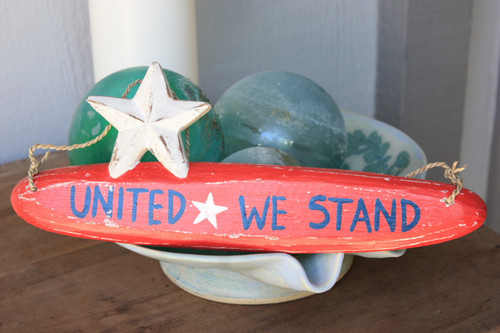 """United We Stand"" Americana Wooden Sign 14"""