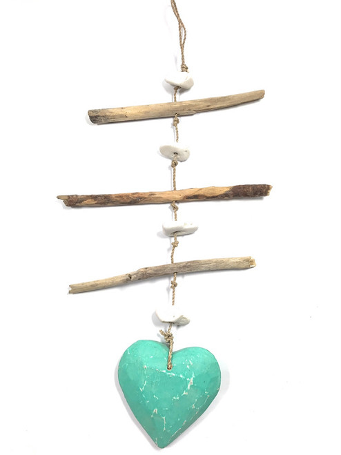 """Driftwood Garland w/ Heart 20"""" Turquoise - Love 