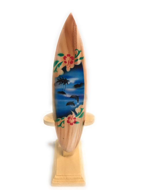 "Surfboard w/ Stand Dolphins & Hibiscus Design 6"" - Trophy 