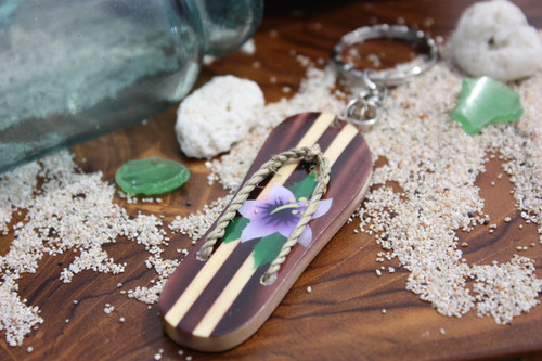 Keychain Wooden Slipper w/ Purple Hibiscus - Hawaiian Style