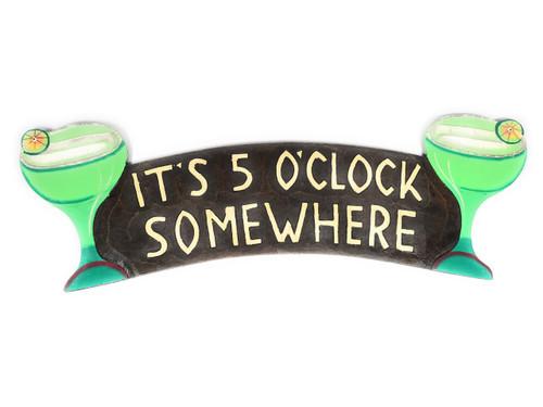 """It's 5 O'Clock Somewhere"" Tiki Bar Sign | #ksa9036a"