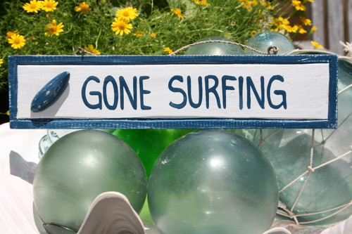 """GONE SURFING"" NAUTICAL SIGN 12"" BLUE - BEACH DECOR"