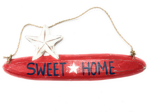 "Sweet Home Americana Wooden Sign 14"" - Red Texas Decor 