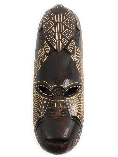 "Fijian Tiki Mask 20"" w/ Carved Turtle - One Love 