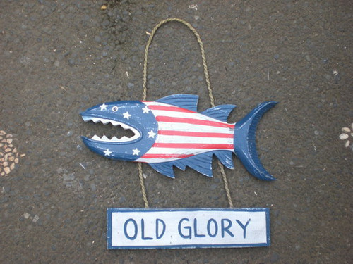 """Old Glory"" Shark Attack Wood Sign 15"" - Americana Decor"