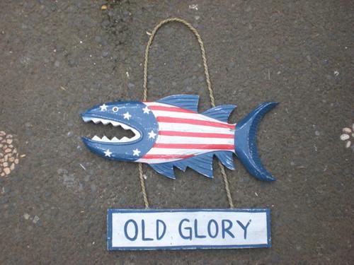 """Old Glory"" Shark Attack Wood Sign 15"" - Americana Decor"