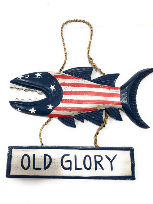 "Old Glory Sign 15"" Shark Attack - Americana Decor Texas Accent 