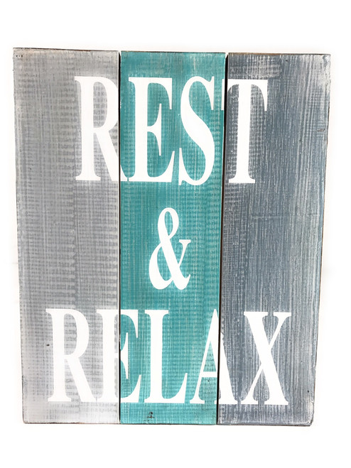 """""""Rest & Relax"""" Turquoise Sign on Wood Planks 12"""" X 9.5"""" 