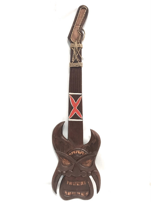 "Tiki Guitar Wall Hanging 40"" - Hand Carved 