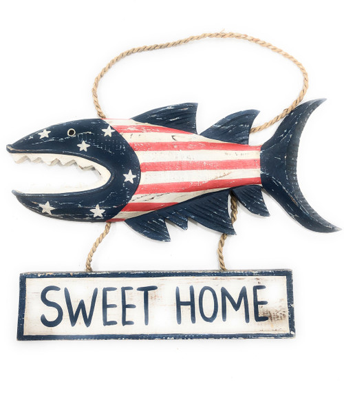"Sweet Home Sign 15"" Shark Attack - Americana Decor Texas Accent 