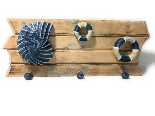 "Seashell & Life Ring Hanger 20"" on Slats - Whitewash Nautical Decor 