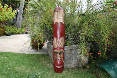"FIJIAN TIKI MASK W/ CARVED TURTLE - 40"" OCEAN - POLYNESIAN ART"