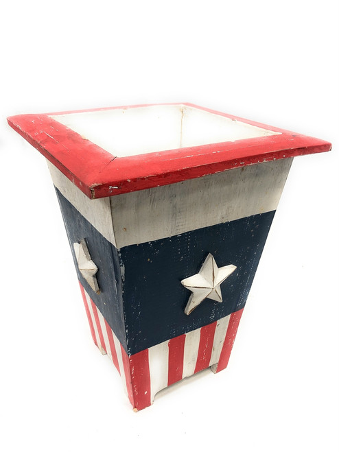"Planter/Waste Bin Americana Style 12"" Flower Pot - Texas Decor 