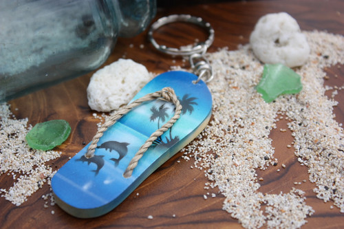 Keychain Slipper w/ Dolphin and Palm Trees #2 - Hawaiian Style