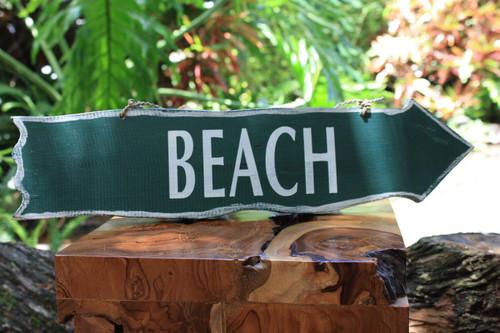 """""""Beach"""" Olive Green Driftwood Sign 20"""" - Beach Decor"""