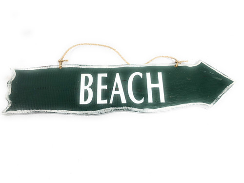 "Beach Driftwood Sign 20""Olive Green - Beach Decor   #snd2505450"