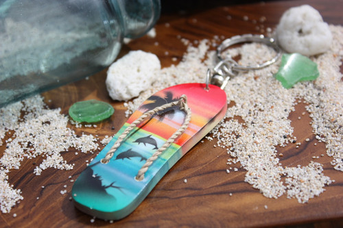 Keychain Slipper w/ Dolphin and Palm Trees #4 - Hawaiian Style
