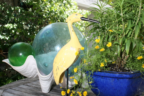 """EGRET BIRD"" - RUSTIC YELLOW COASTAL 14"" - GARDEN/HOME DECOR 3"