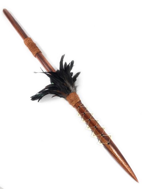 "Koa Spear 36"" w/ Shark Teeth & Black Feathers 