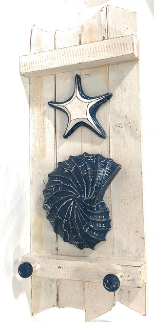 "Shell & Starfish Hanger 20"" - Rustic Whitewash Coastal Decor 